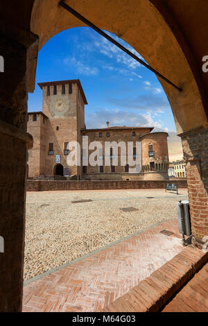 Picture & image of the exterior of the late medieval (13th century) moated urban castle reisdence of Rocca Sanvitale - Stock Photo