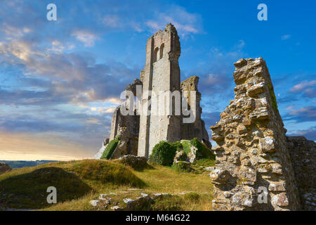 Medieval Corfe castle keep  close up  sunrise, built in 1086 by William the Conqueror, Dorset England - Stock Photo