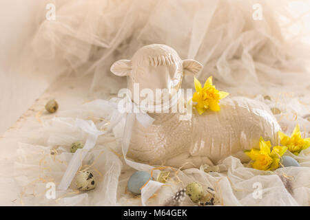 Easter lamb - antique earthenware lamb mould - vintage French mold easter decoration - Stock Photo