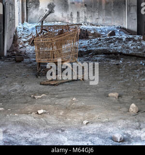 Inside abandoned buildings in Plymouth, Montserrat after a volcanic eruption - Stock Photo