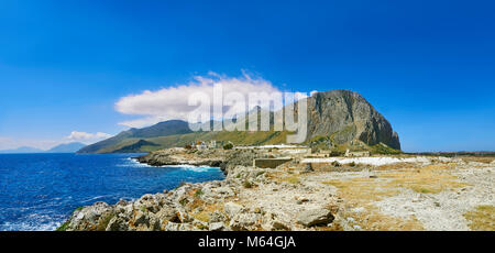 San Vito Lo Capo penninsular looking towards Zingaro Natural park and Castelmare del Golfo, Sicily - Stock Photo