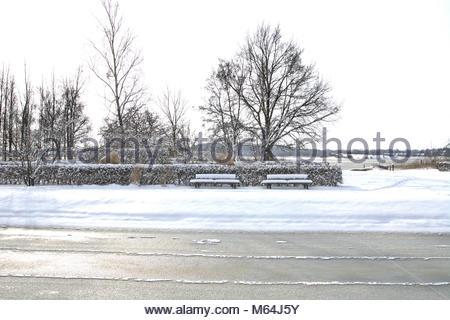 Der Winter zeigt sich zum Ende in Schleswig nochmal von seiner heftigen, aber schönen Seite. Schöne Impression auf - Stock Photo