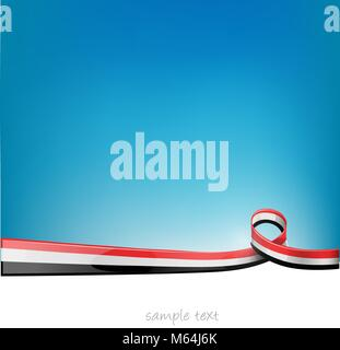 yemen sahara ribbon flag on blue sky background - Stock Photo