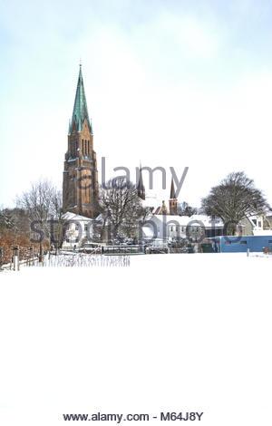 Der Winter zeigt sich zum Ende in Schleswig nochmal von seiner heftigen, aber schönen Seite. Der markante St. Petri - Stock Photo