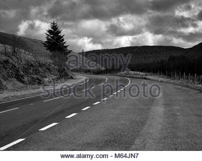The A44 mountain road leading to Aberystwyth in the Cambrian mountains in Wales UK - Stock Photo