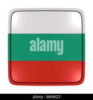 3d rendering of a Bulgaria flag icon. Isolated on white background. - Stock Photo