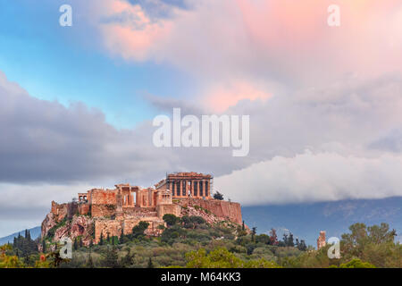 Acropolis Hill and Parthenon in Athens, Greece - Stock Photo