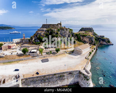 Corfu old fortress aerial view. The old venetian fortress near the capital of Kerkyra Island, now an important tourist - Stock Photo