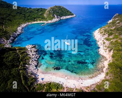 Porto Timoni, on of the hidden beaches of Corfu Island, also known as Kerkyra, near Agios Giorgios beach. Turqoise - Stock Photo