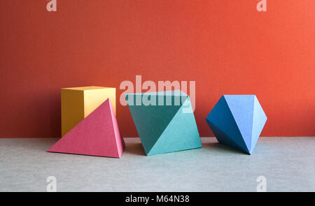 Colorful abstract geometrical composition. Three-dimensional prism pyramid tetrahedron rectangular cube objects - Stock Photo
