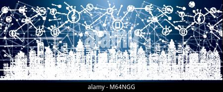 Smart City with Neon Buildings, Networks and Internet of Things Icons. Vector Illustration. - Stock Photo
