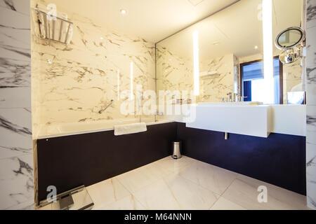 designer bathroom with shower tiling - Stock Photo
