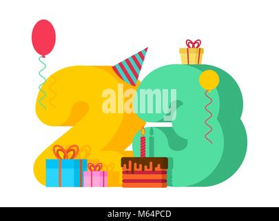 23 year Happy Birthday greeting card. 23th anniversary celebration Template. twenty three number and festive piece - Stock Photo