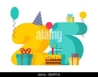 25 year Happy Birthday greeting card. 25th anniversary celebration Template. twenty five number and festive piece - Stock Photo