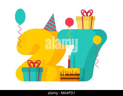 27 year Happy Birthday greeting card. 27th anniversary celebration Template. twenty seven number and festive piece - Stock Photo