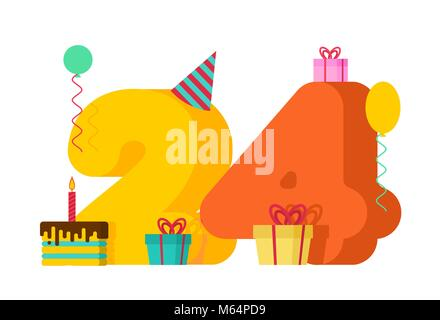 24 year Happy Birthday greeting card. 24th anniversary celebration Template. twenty four number and festive piece - Stock Photo