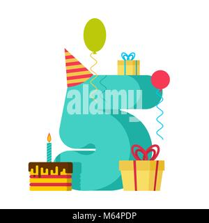 5 year Happy Birthday greeting card. 5th anniversary celebration Template. five number and festive piece of cake - Stock Photo