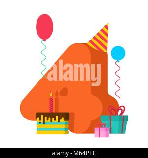 4 year Birthday sign. 4th Template greeting card anniversary celebration. four number and festive piece of cake - Stock Photo
