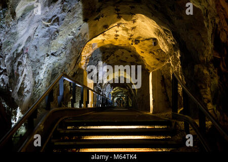 Tunnel under the Schlossberg hill in the middle of the Austrian town of Graz. The tunnel is part of a complex that - Stock Photo