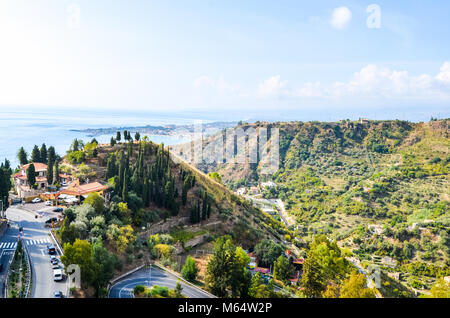 Sicilian lanscape with sea and mountains - Stock Photo