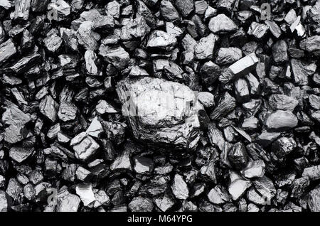 Close up view of black coal as background - Stock Photo