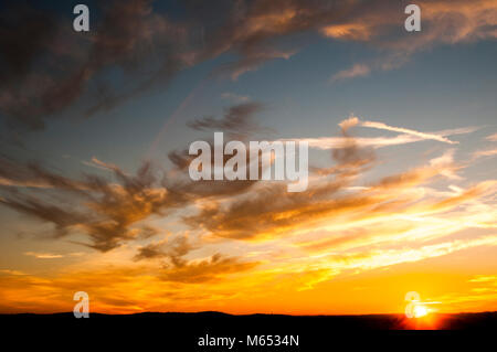 wallpaper, background, colorful, sunset, spain, cloudy, clous, cyrrus - Stock Photo