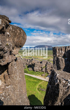 Almannagja fissure. Thingvellir National Park, a Unesco World Heritage Site, Iceland. - Stock Photo