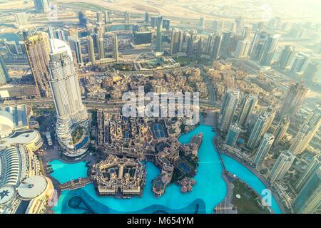 26th December 2017 - Dubai, UAE. Spectacular city view from 125th floor of Burj Khalifa. - Stock Photo