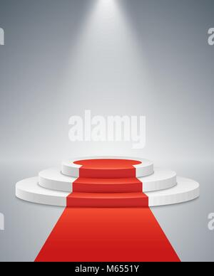 white podium and red road on a light background the winner is in