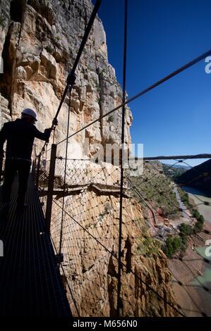 The vertiginous Caminito del rey mountain walkway in Malaga Province, Spain - Stock Photo