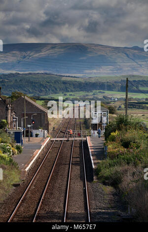 The signal man opens the manual crossing gates to road traffic after the departure  of a train at Drigg (Cumbria) - Stock Photo
