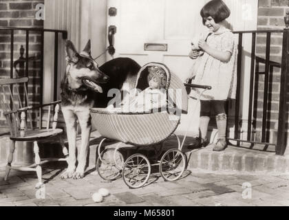 1920s SMILING LITTLE GIRL WATCHED BY GERMAN SHEPHERD DOG PLAYING WITH BABY DOLL IN TOY WICKER CARRIAGE OUTSIDE FRONT - Stock Photo