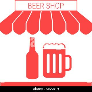 Beer Shop, Pub Single Flat Vector Icon. Striped Awning and Signboard - Stock Photo