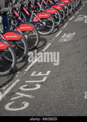 LONDON, UK:  Docking station for Santander Hire Cycles - Stock Photo