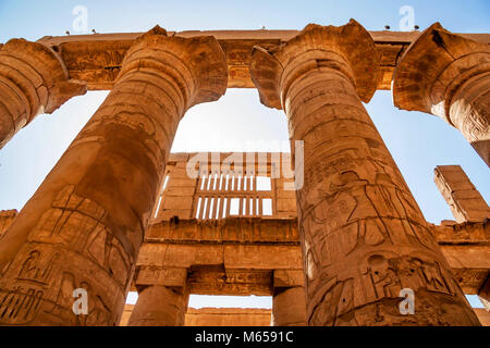 Great hypostyle hall at Temples of Karnak in Luxor - Stock Photo