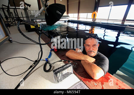 Picture by Tim Cuff - 28 June 2017 - Jose Caro in his My Space, an underwater photographic studio, Nelson, New Zealand: - Stock Photo