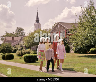 1960s ADOLESCENT YOUTH WALKING FROM SUNDAY CHURCH FOUR SISTERS WEARING MATCHING HATS AND A YOUNGER BROTHER - kc3800 - Stock Photo