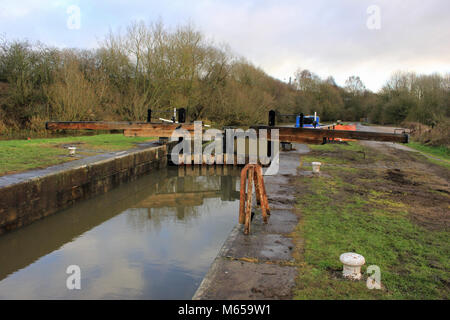 Appley Bridge Lock, 15th of December 2017 the day it was reopened to navigation after the fitting of new lock gates - Stock Photo