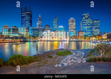 Perth. Cityscape image of Perth downtown skyline, Australia during sunset. - Stock Photo