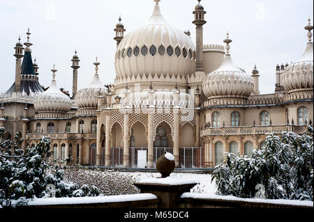 Brighton's famous Royal Pavilion covered in snow as the freezing Siberian conditions turned the United Kingdom white - Stock Photo