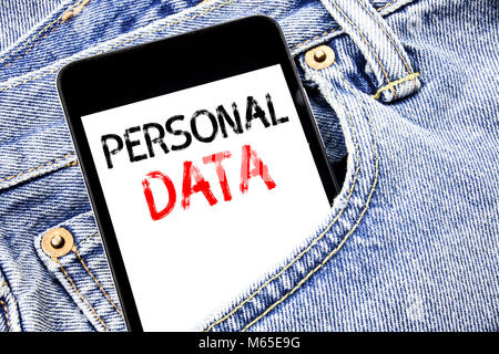 Handwriting Announcement text showing Personal Data. Business concept for Digital Protection Written phone mobile - Stock Photo