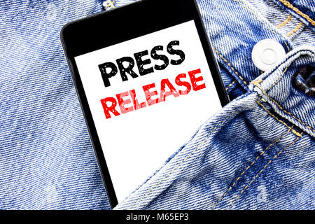 Hand writing text caption inspiration showing Press Release. Business concept for Statement Announcement Message - Stock Photo