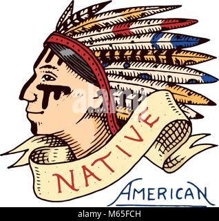 native american. old red skinned indian. label and badge. cherokee or apache, traditional chief. engraved hand drawn - Stock Photo