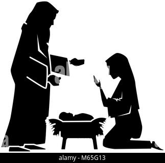 holy family silhouette christmas characters - Stock Photo
