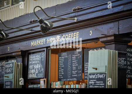 Market House Coffee stall in the Grade II listed Market house in Altrincham town centre, Cheshire. A busy and exciting food destination