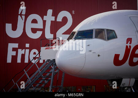 Manchester Airport Jet 2 maintenance hanger Boeing 757 in the Jet2 Holidays livery - Stock Photo