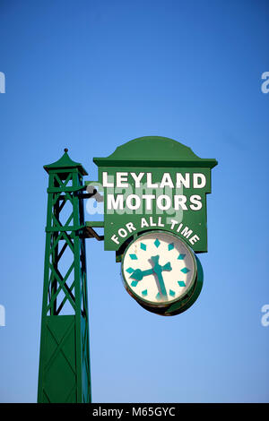 Leyland Village clock carrying slogan 'Leyland motors for all time', were installed at prominent positions on major - Stock Photo