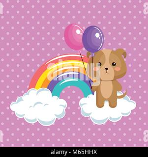cute dog with rainbow kawaii birthday card - Stock Photo