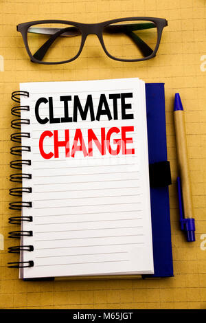 Handwriting Announcement text showing Climate Change. Business concept for Global Planet Warming Written on tablet, - Stock Photo