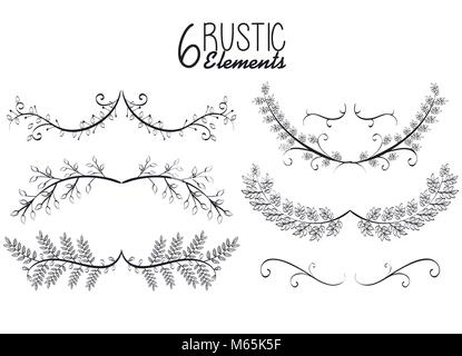 rustic set wreaths icons - Stock Photo